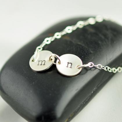 Hand Stamped Intial Neckalce, Initial Jewelry,Personalized Initial Necklace, sterling silver dainty initial necklace
