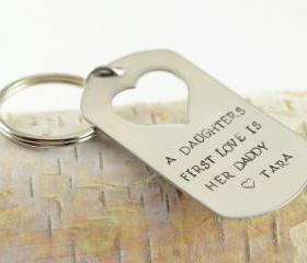 Personalized KeyChain, Hand stamped key chain, heart key chain, fathers day gift,valentines day gift