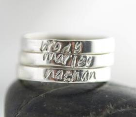 Personalized ring, womens Jewelry, Gift for her, Mothers day gift ,Hand Stamped Ring, Sterling silver ring