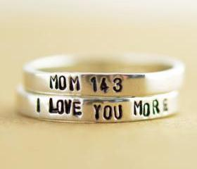 Personalized rings - Two Stacking Rings - Hand Stamped Ring- personalized Jewelry- Mothers day gift