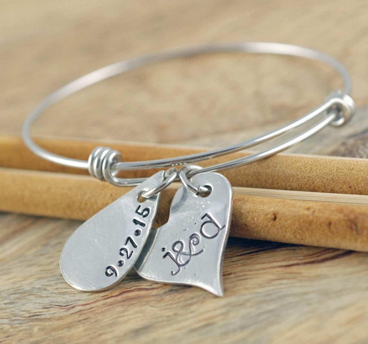 personalized bangle bracelet name bracelet silver